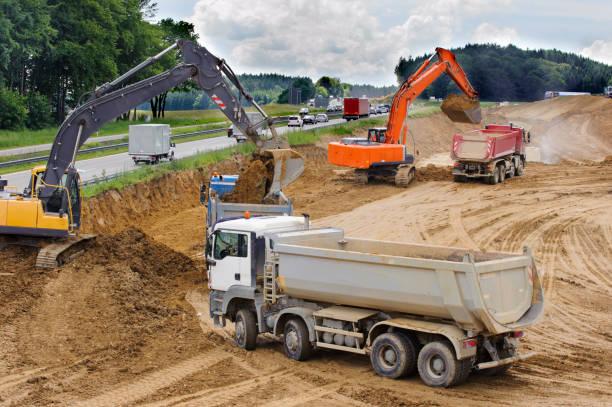 Baustelle an der Autobahn in Deutschland – Foto