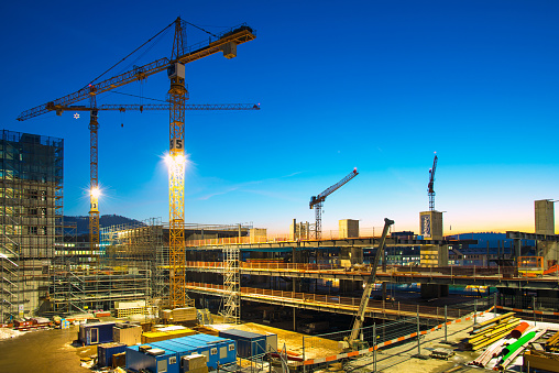 Construction Site At Dusk Stock Photo - Download Image Now