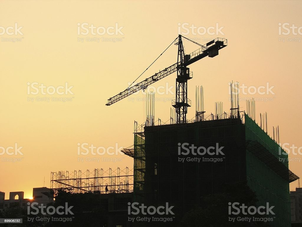Construction Site at Dusk stock photo