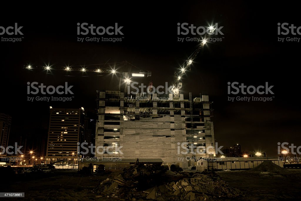 Construction Site at night royalty-free stock photo