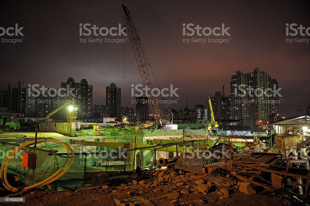 Construction site by night royalty-free stock photo