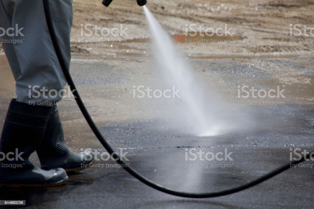 Construction site cleaning stock photo