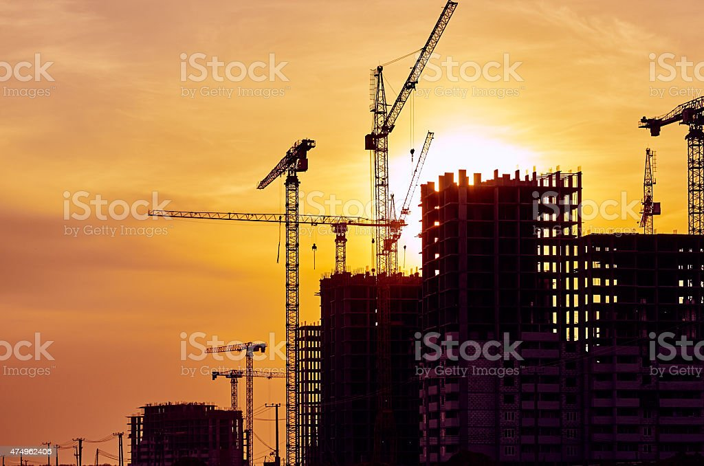 Chantier de Construction Grue au coucher du soleil Grue - Photo
