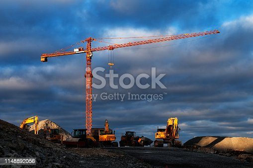 Large overhead construction site crane.