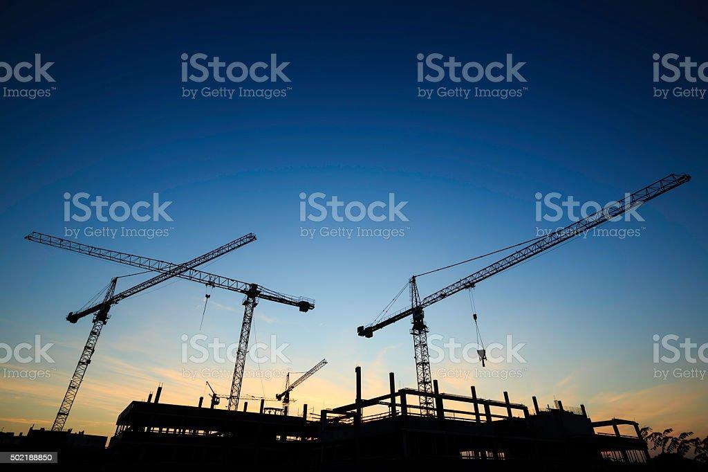 Plac budowy-Dźwigi zbiór zdjęć royalty-free