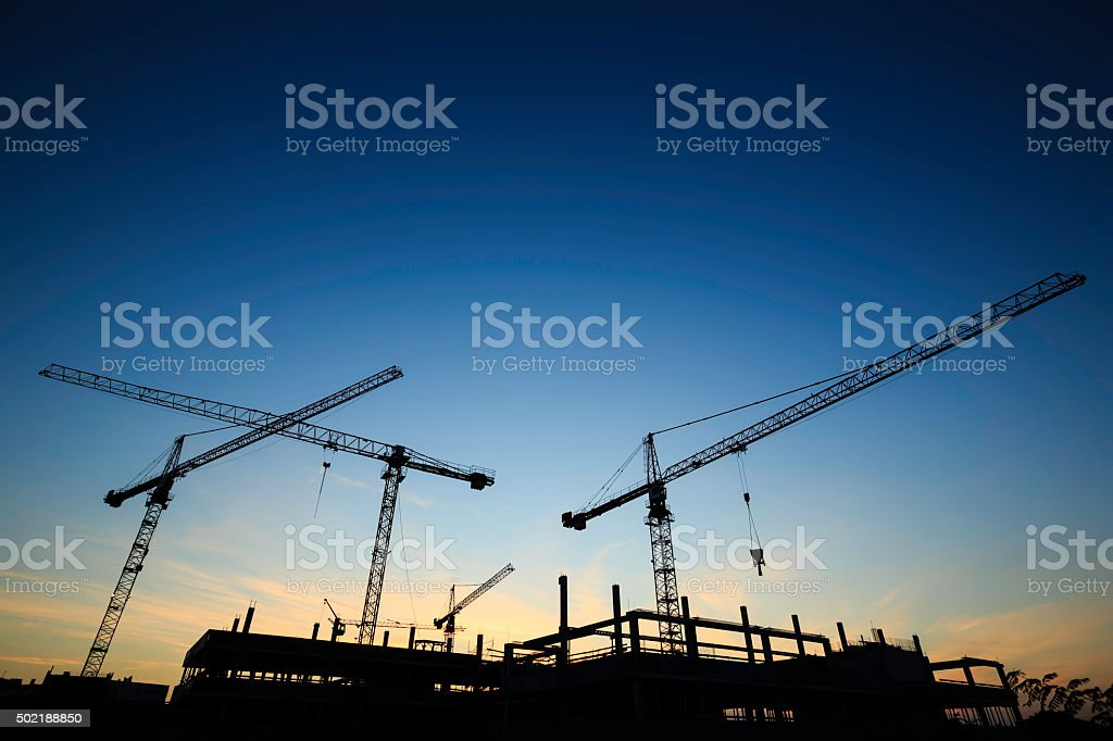 construction site - cranes stock photo