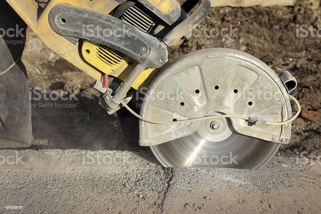 Construction site, cut tool stock photo