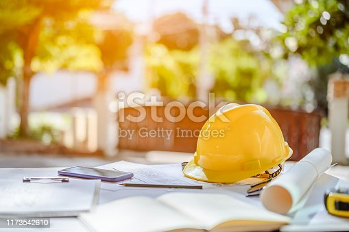 Construction site engineer. Engineering objects on workplace