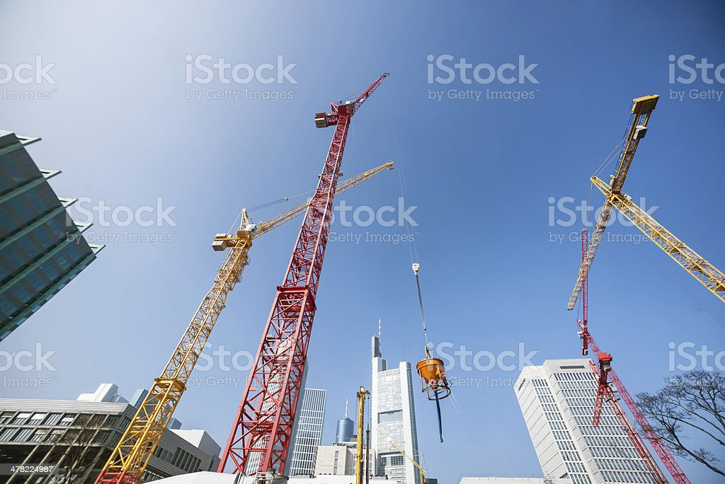 Construction site, Frankfurt. stock photo