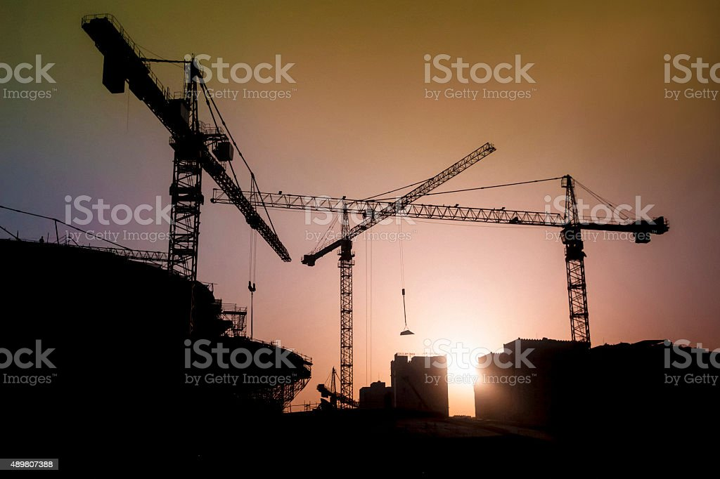 Construction site in Doha stock photo