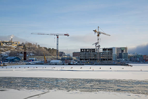Construction site in early winter. bildbanksfoto