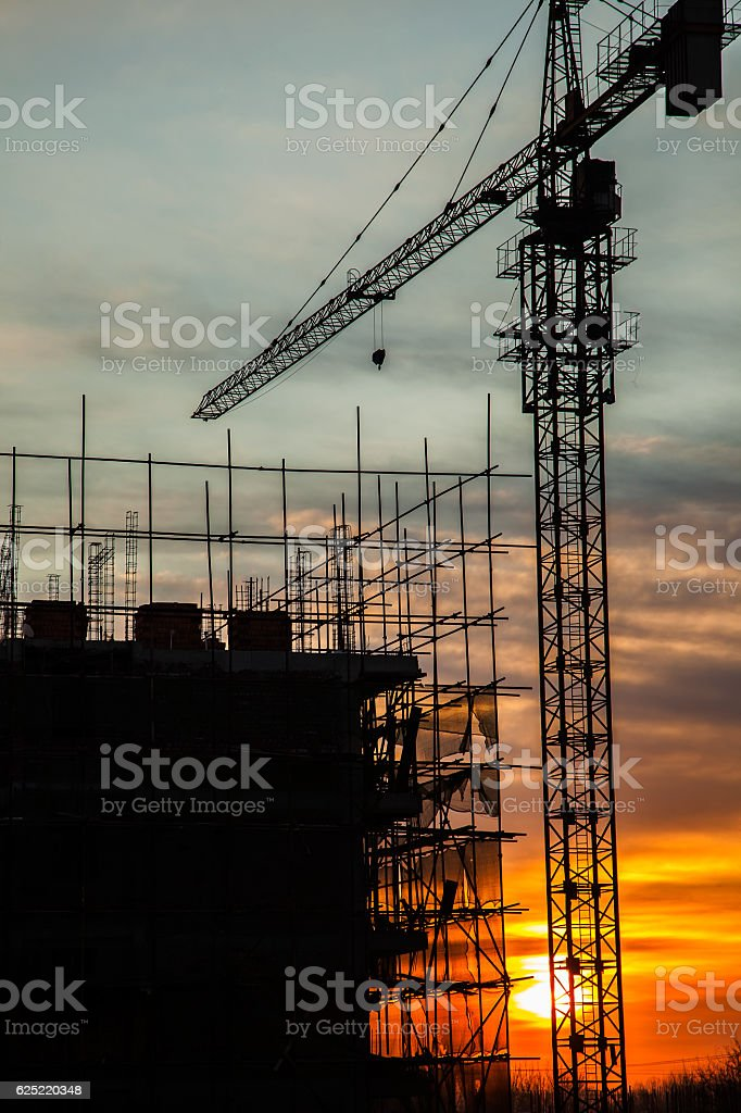 Construction site in the evening stock photo