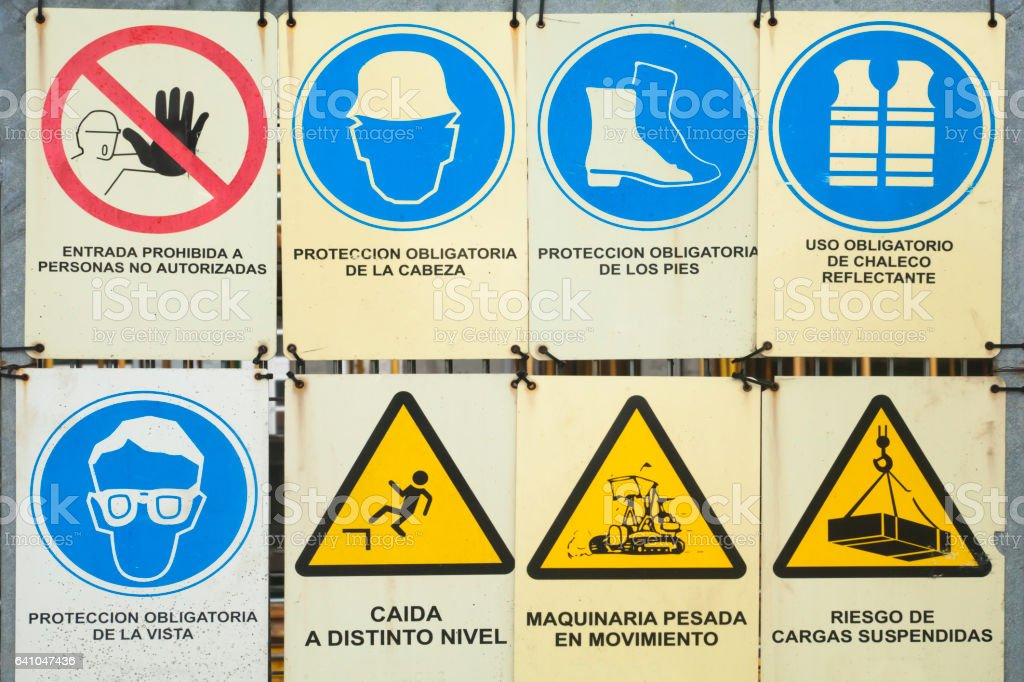 Construction Site Information Signs And Symbols With Text In Spanish