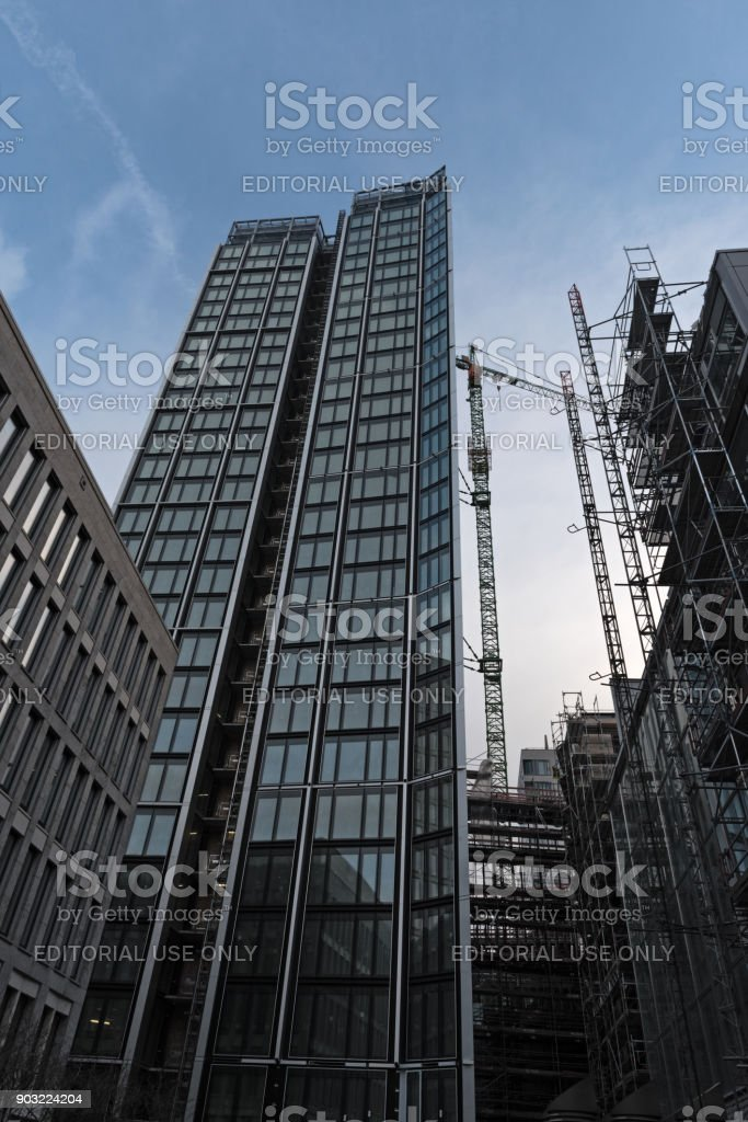 Construction site maintor of a skyscraper, in Frankfurt Main, Germany stock photo