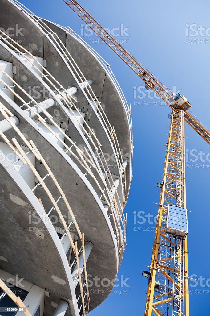 Construction site. New apartment building. Blue sky. royalty-free stock photo