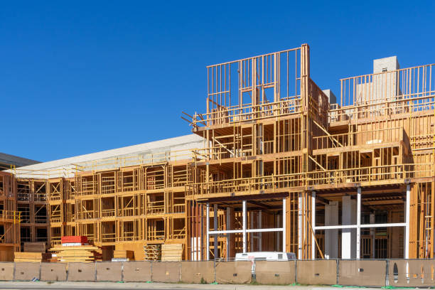 Construction site of a multi level building stock photo
