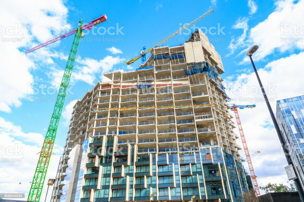 Construction site of a new development in north Greenwich stock photo