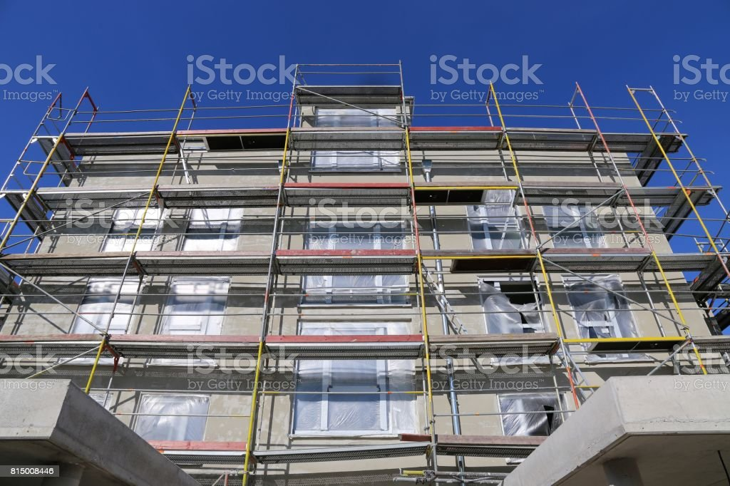Construction site of a new residential home stock photo