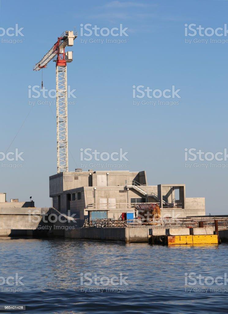 Construction site of an mobile dam to protect the island of Veni zbiór zdjęć royalty-free