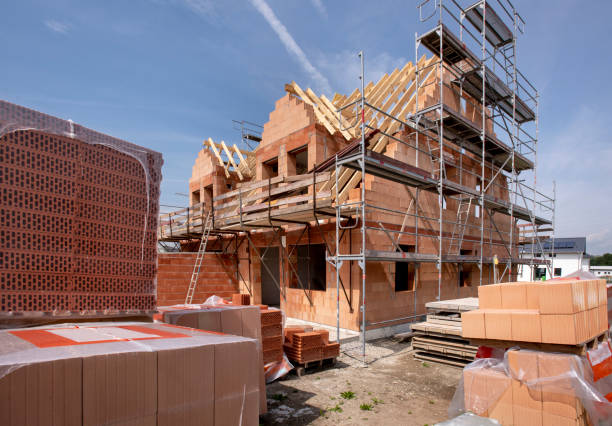 construction site of an new built house construction site of an new built house building activity stock pictures, royalty-free photos & images