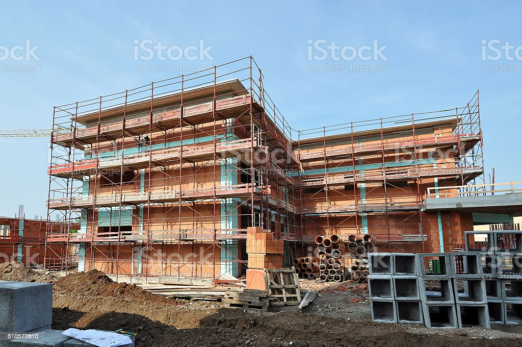 Construction Site Of Brick House Stock Photo & More Pictures of ...