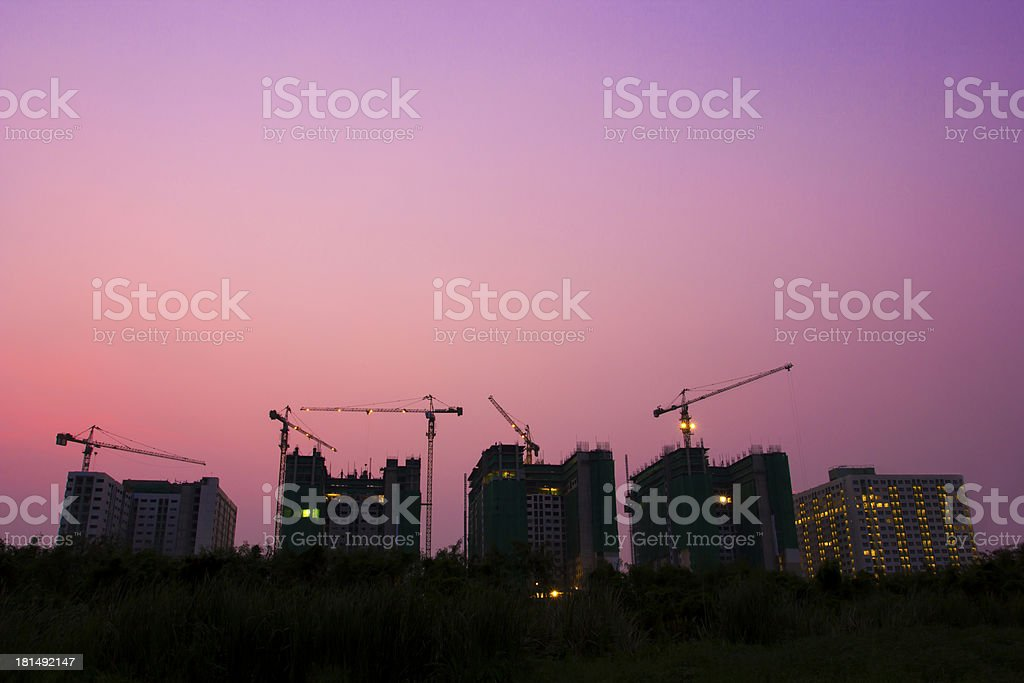 Construction Site of buildings in the capital with Twilight royalty-free stock photo