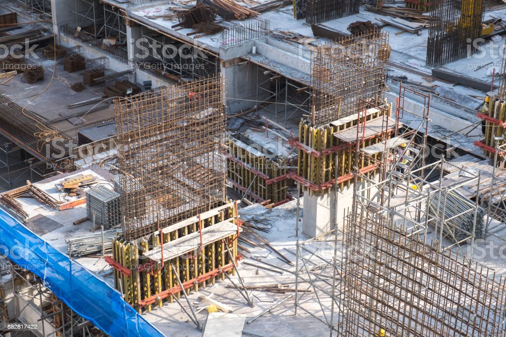 Construction site of bulding from top view stock photo