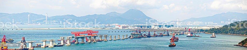 construction site of Hong Kong Zhuhai Macau Macao Bridge stock photo