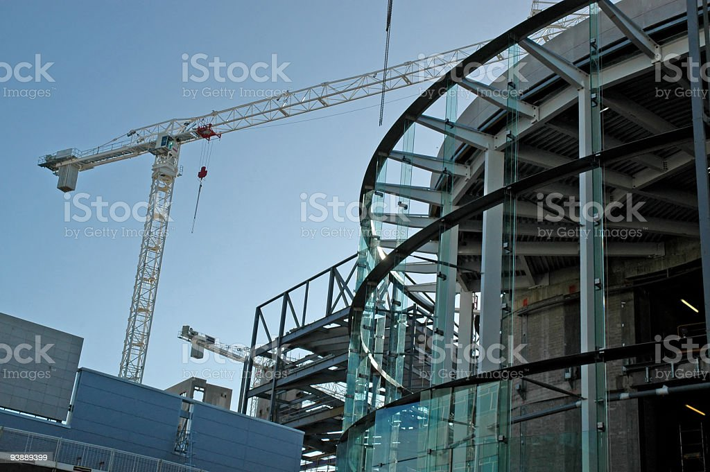 Construction site of modern buildings and skyscrapers stock photo