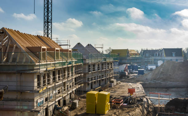 construction site of new homes building industry, lifestyle, architecture housing development stock pictures, royalty-free photos & images