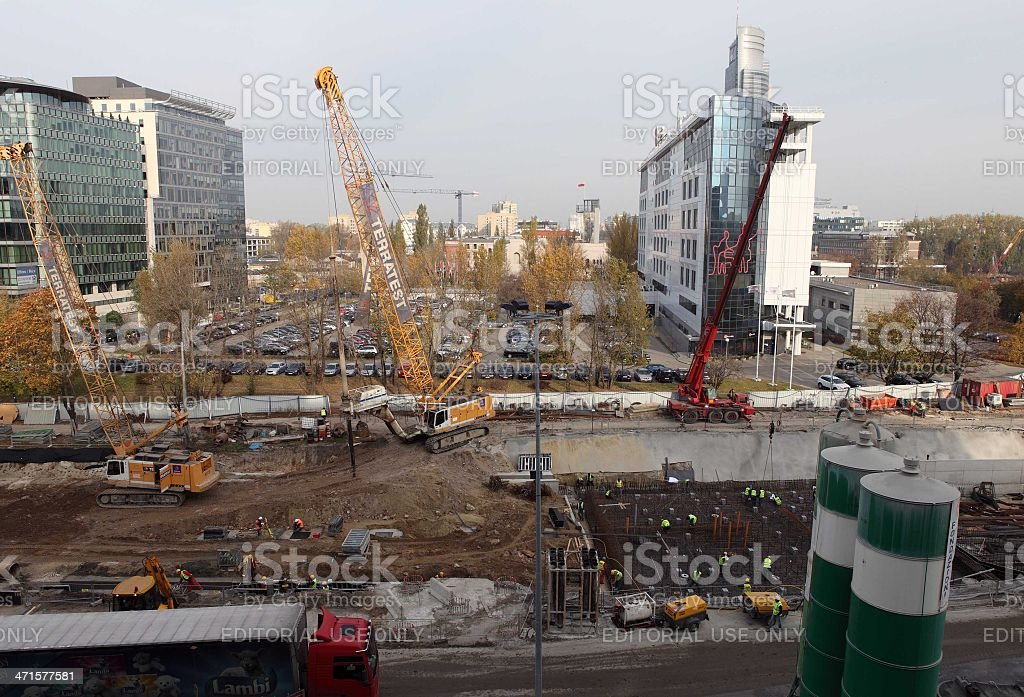 Construction site of new metro line royalty-free stock photo