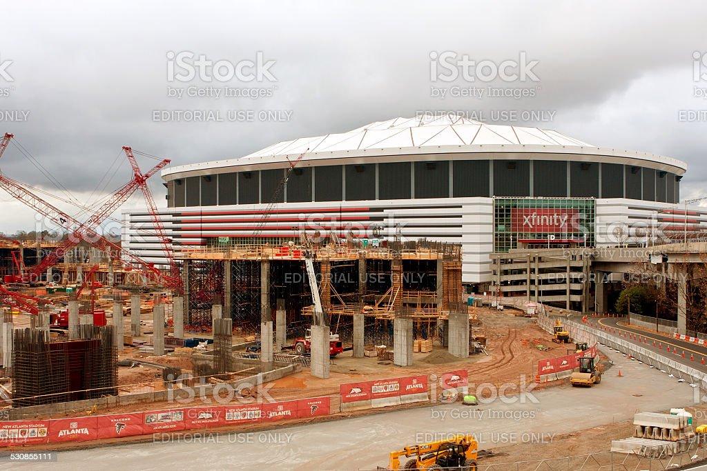 Construction Site Of New Stadium Sits Next To Georgia Dome stock photo