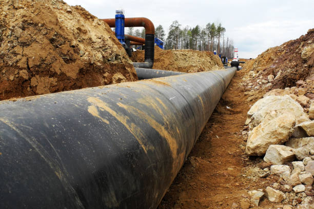 Construction site of oil pipeline - foto stock