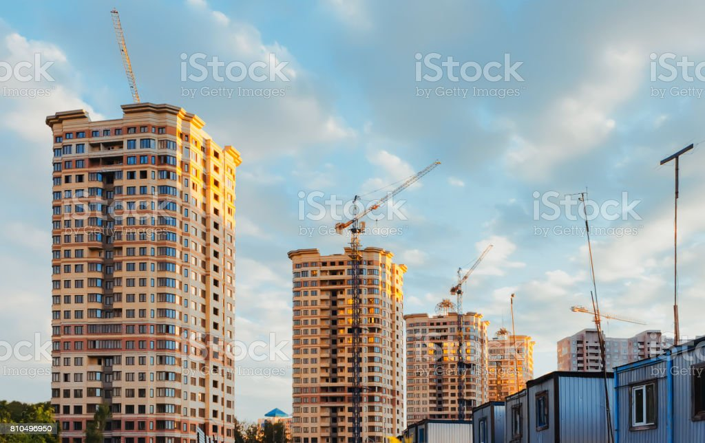 Construction Site Of Residental District stock photo