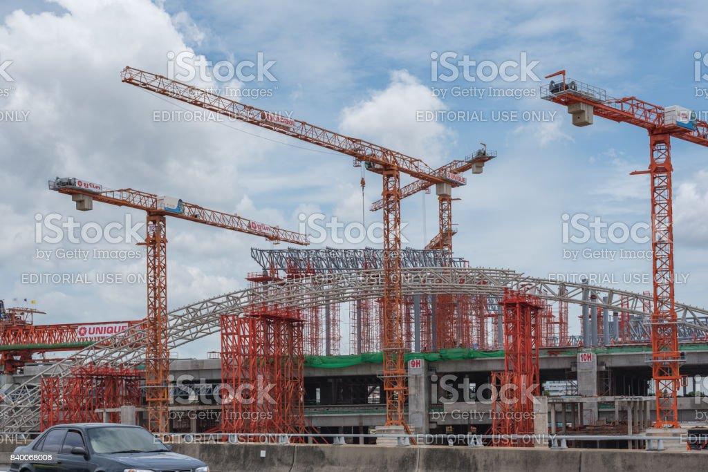 Construction site of sky train stock photo
