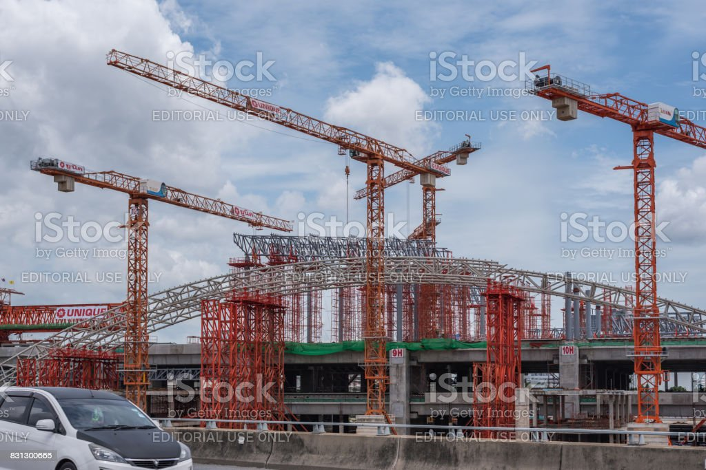 Construction site of sky train red line from Bangsue to Rangsit stock photo