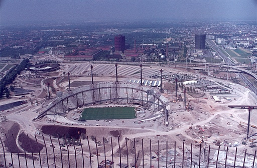 Munich, Bavaria, Germany, 1970. The major construction site of the Munich Olympic Stadium.