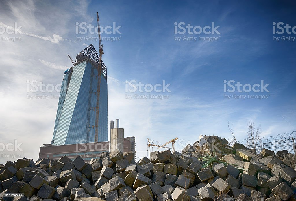 Construction site of the new ECB building, EZB royalty-free stock photo