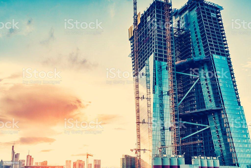 Baustelle des neuen Europäischen Zentralbank Gebäude Lizenzfreies stock-foto