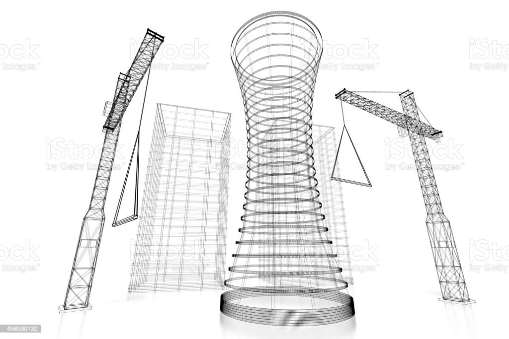 3d construction site office building wireframe stock photo more