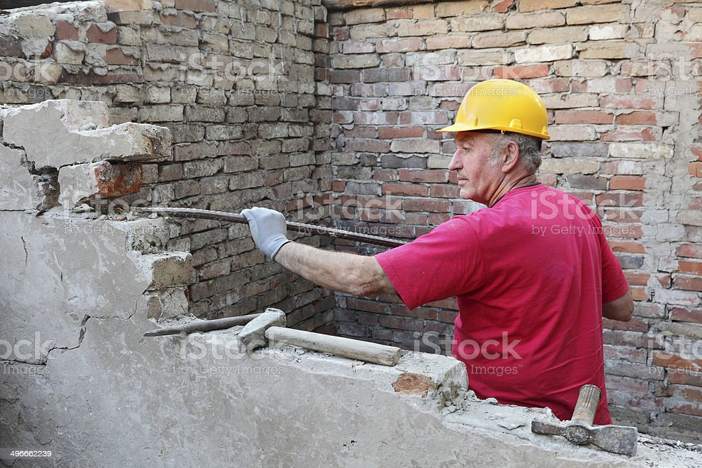 Construction site, old building demolishing stock photo