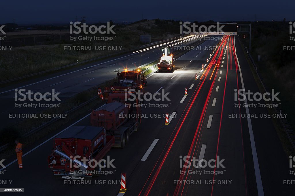 Construction site on german highway A3 royalty-free stock photo