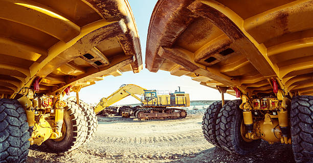 construction site panoramic - construction equipment stock photos and pictures