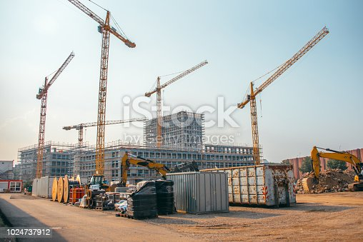 Construction cranes in a construction site in Germany