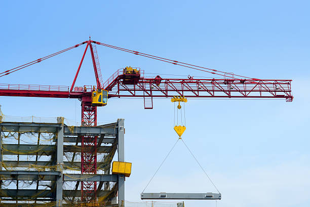 Construction site.   Industrial landscape with cranes  rigging stock pictures, royalty-free photos & images