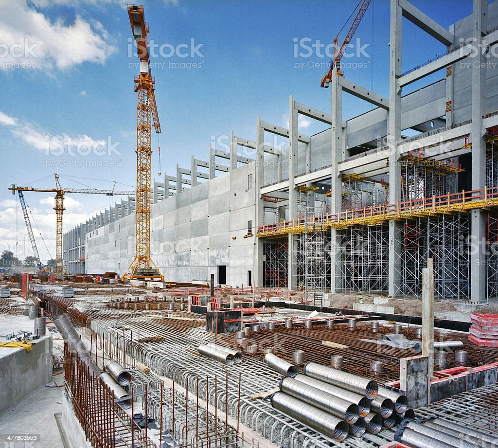 Construction site Detail of a factory under construction Civil Engineering Stock Photo