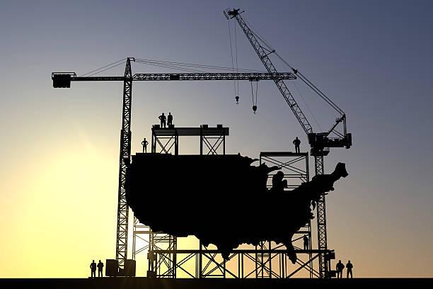 USA construction site stock photo