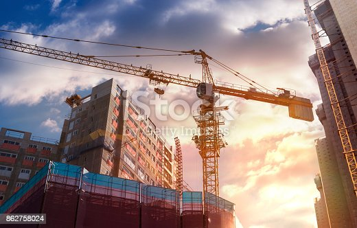 Construction Industry, Industry, Building - Activity, Construction Frame, Sunset