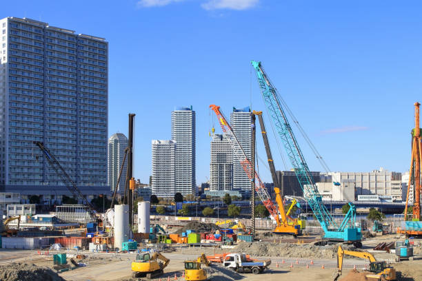 Construction site Landscape with excavator cars and crane cars mobile crane stock pictures, royalty-free photos & images