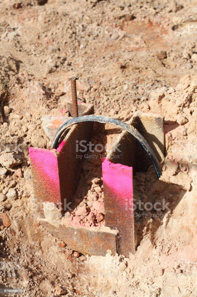 Baustelle,Stahpfeiler,基礎 免版稅 stock photo